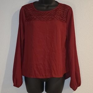 Meraki Maroon Lace Neck Long Sleeve Blouse